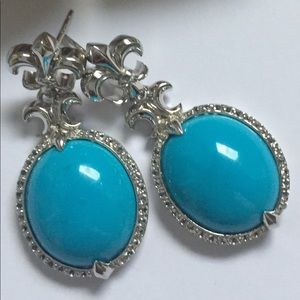 Jewelry - Turquoise 20 Carats Drop Earrings Sterling Silver